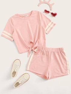 Clothes For Girls - Girls Tie Front Striped Cuff Top & Shorts Set Cute Lazy Outfits, Kids Outfits Girls, Teenager Outfits, Pretty Outfits, Stylish Outfits, Girls Pjs, Shorts For Girls, Pajama Outfits, Crop Top Outfits