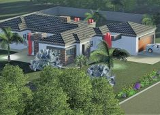 5 Bedroom House Plan MLB-1815D – My Building Plans South Africa Village House Design, Village Houses, My Building, Building Plans, Architect Fees, 6 Bedroom House Plans, Architect Design House, House Plans South Africa, Home Design Floor Plans