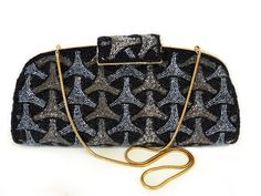 "10.75 x5.5"" satin interior Vintage 50s Clutch Hand glass Beaded Purse Gold Frame by KMalinkaVintage"