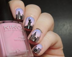 Marine Loves Polish: Nailstorming - Destination de rêve [Un jour, j'irai à New York avec toi...] ... NEW YORK   Stamping Nail Art using a gradient as the base (sky background), stamping with Bundle Monster BM-414 (buildings) and MoYou London Tourist 02 (Statue of Liberty).  Continuous design nail art.