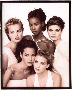 Vogue UK, January 1992Models: Eva Herzigova, Beverly Peele, Petra Lindblad, Claudia Mason and Nadja Auermann