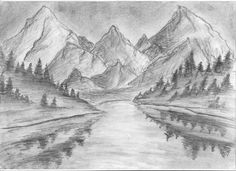 Pencil Drawings Tumblr, Tumblr Sketches, Art Drawings, Building Drawing, Building Sketch, Mountain Drawing, Sketch Paper, Fantasy Rpg, Drawing People