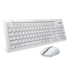 Auawak Rapoo 8200P 5G Multimedia Wireless Keyboard and Mouse Combo for Laptops Desktops PC - White