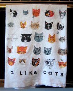 I LIKE CATS Kitchen Towel by LittleIslandCompany on Etsy, $14.00