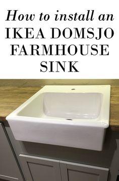 How to mount an Ikea Domsjo farmhouse sink onto non-Ikea cabinets!