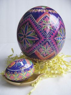 Purple Ostrich Egg and Blue Floral Duck Egg.