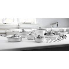 Mainstays Stainless Steel 18Piece Cookware Set by Mainstays -- See this great product.-It is an affiliate link to Amazon.