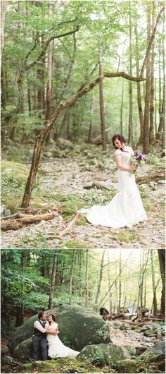 A mountain elopement and wedding pictures in the woods in Tennessee