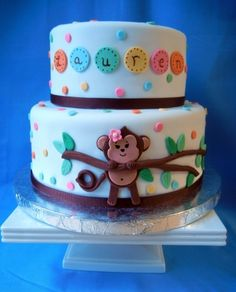 Baby Monkey Shower Cake By blackmartha10 on CakeCentral.com