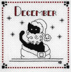 """Finished Completed Cross Stitch Kats by Kelly""""December"""""""