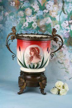 delphin massier 1836 1907 importante sellette et son cache pot en c ramique kv tin. Black Bedroom Furniture Sets. Home Design Ideas
