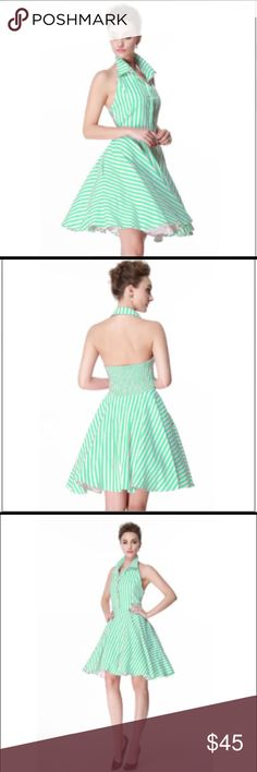 "NWOT Mint Green White Striped Halter Swing Dress Beautiful fitted striped halter dress with open back.  Mint green & white stripes.  Elastic back. Collared neckline.  Unlined cotton blend.  LARGE: 12/14. Bust 39.5"", waist 31.5"", length 39"". XLG: 16/18. Bust 41.5"", waist 33.5"", length 39"".  Model wearing petticoat not included. Dresses"