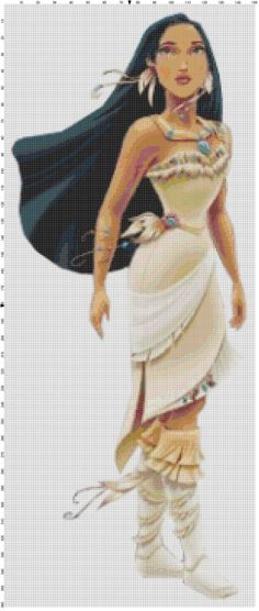 Pocahontas cross stitch pattern PDF by Bluegiantstitch on Etsy, £2.10