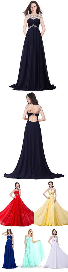A-line Prom Dresses Long,Scoop Neck Formal Dresses Chiffon, Tulle with Beading Prom Dresses Modest