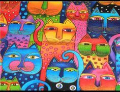 LAUREL BURCH FANCIFUL FELINES Fabric Packed Cats Bright BTHY OOP Hard To Find   Crafts, Fabric   eBay!