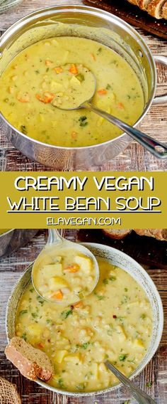 Creamy vegan white bean soup with potatoes and healthy vegetables. This vegetarian chowder is the perfect light weeknight dinner side dish or entrée with wholesome ingredients. The recipe is meat-free dairy-free gluten-free and easy to make. Easy Soup Recipes, Seafood Recipes, Whole Food Recipes, Healthy Recipes, Gluten Free Dairy Free Vegetarian Recipes, Vegitarian Soup Recipes, Health Soup Recipes, Healthy Vegetarian Dinner Recipes, Pasta Recipes