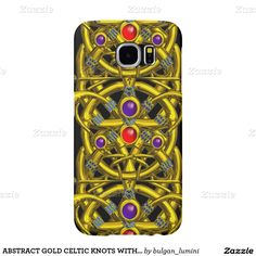 ABSTRACT GOLD CELTIC KNOTS WITH COLORFUL GEMSTONES SAMSUNG GALAXY S6 CASES