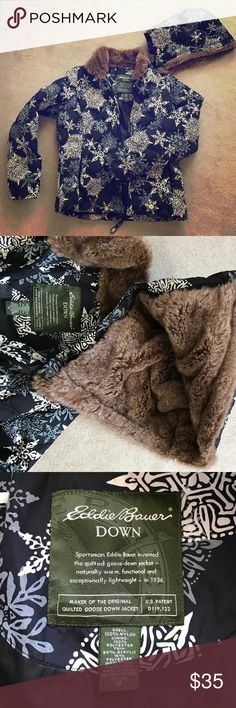 Eddie Bauer winter coat Gorgeous Eddie Bauer winter coat!  Comes with detachable hood.  Very warm & pretty snowflake pattern.  I love it, but I have so many coats it needs a new home!!! Eddie Bauer Jackets & Coats Puffers