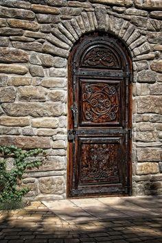 bonita puerta de madera