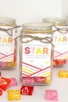 DIY Teacher Gift Candy Jars