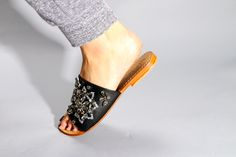 Black Sandals, Leather Sandals, Mystique Sandals, Types Of Women, Slippers, Wedges, Pairs, Handmade, Shopping