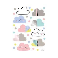 Vinilos nubes y puntos de colores - Lilipinso