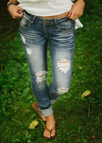 Destroyed Lowrise Skinny Jeans