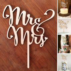 """Add some rustic casual gorgeousness to your wedding cake! This lasercut wooden topper looks amazing on any cake. Size of the """"MR & MRS"""" letters only is: wide x high."""