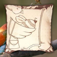 The Birds and the Bees Pillow by Jeremy Fish. This pillow should soften any difficult conversation you might be required to have. @mrjeremyfish #jeremyfish #superfishal #shopUP #UpperPlayground #thebirdsandthebees