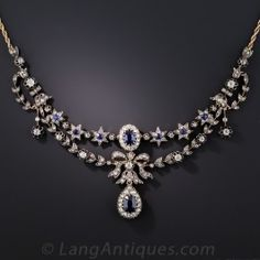 Victorian Sapphire and Diamond Necklace - Victorian Jewelry - Vintage Jewelry Halo Diamond, Diamond Pendant, Diamond Jewelry, Diamond Cuts, Diamond Necklaces, Gold Jewellery, Silver Jewelry, Sapphire Necklace, Sapphire Jewelry