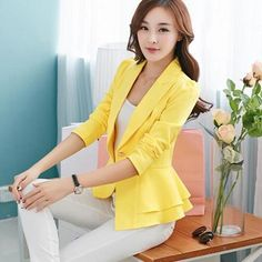 Women Blazers Jackets LongSleeve Slim Blazer Ruffle Short Blazer Candy Color Outerwear Coats Color black Size S Blazer Jackets For Women, Blazers For Women, Suits For Women, Clothes For Women, Ladies Blazers, Women Blazer, Female Blazer, Blazer And Shorts, Blazer Outfits