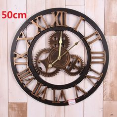 Vintage Large Wall Clock 3d Gear Wooden Wall Clocks Watch Retro Relogio de Parede Reloj de Pared Horloge Murale Duvar Saati Klok
