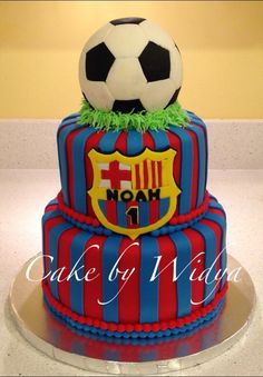 Soccer Theme Cake -Real Madrid instead! It would be perfect Soccer Birthday Parties, Football Birthday, Soccer Party, Buttercream Cake, Fondant Cakes, Barcelona Cake, Christian Cakes, Sport Cakes, Soccer Cakes