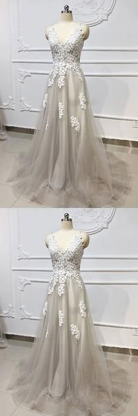 Gray Tulle V Neck Long Lace Up A Line Prom Dress, Bridesmaid Dress Senior Prom Dresses, Prom Dresses For Teens, A Line Prom Dresses, Ball Dresses, Cute Dresses, Beautiful Dresses, Ball Gowns, Bridesmaid Dresses, Dresses With Sleeves
