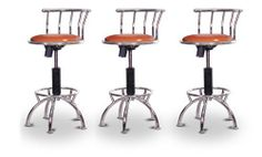 """3 24""""-29"""" Vinyl Glitter Copper Seat Chrome Adjustable Specialty / Custom Barstools Set by The Furniture Cove. $292.88. 24"""" to 29"""" Adjustable Seat Height. Black Metal Finish. Custom Upholstery. Swivel Seat. Back Rest and Foot Rest. These have a fitting appearance for a wide variety of places. They look and feel great, feature a custom upholstered seat, and are impressively versatile. The frame is made of metal making it a strong, heavy duty stool. The cushion is 14 inches wi..."""