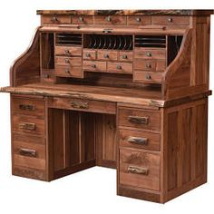 """62"""" Deluxe Roll-Top Desk with Live Edge, Desks,Rustic Walnut, by ..."""