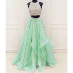 Long Prom Dress Stunning unique two pieces sequin mint green long prom... ❤ liked on Polyvore featuring dresses, mint prom dress, green sequin dress, mint green prom dress, green prom dresses and 2 piece dress