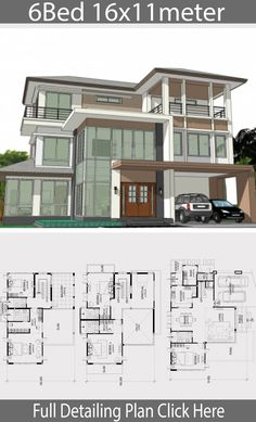 Home design plan with 6 bedrooms. Three-storey house Modern Contemporary style With tall window doors, combining modern lines to make the house look elegant and elegant, design Sims House Plans, House Layout Plans, House Layouts, House Floor Plans, Luxury House Plans, Dream House Plans, Beautiful House Plans, Model House Plan, Duplex House Design