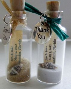 THANK YOU Mini Message Bottle FAVORS with or without magnets sold in lots of 12 or more Merci Mini Message bouteille faveurs avec ou sans par WeddingsAway Beach Wedding Decorations, Beach Wedding Favors, Sea Wedding Theme, Graduation Decorations, Wedding Colors, Reception Decorations, Wedding Themes, Nautical Wedding Decor, Wedding Keepsake Ideas For Guests