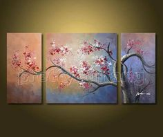 Framed Hand Painted Huge Art Country Tree Flowers Landscape Oil Paintings PHP668   eBay