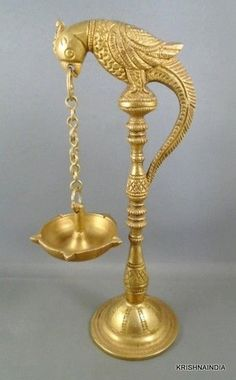 UNIQUE BRASS OIL/BUTTER STAND HANG LAMP PARROT ON TOP OF THE LAMP INDIA
