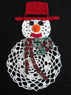 Crochet Doily Snowman - Christmas decor - Winter Holiday decor - Christmas Gift - Homemaker gift - Hostess gift - Home decor by ElenisCrochet on Etsy