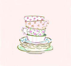 Art Print - Teatime Print - Tea cups - Wall Art - Tea Shop Wall Decor - Tea - Pink - China - Vintage Tea Cups - Shabby Chic - Mother's Day by bbriggsillustration on Etsy