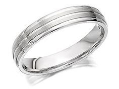 9ct White Gold Triple Banded Brides Wedding Ring  4mm - 182492