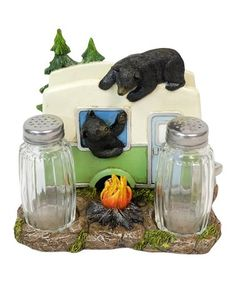 Black Bear Soap Dish Resin Holder Bath Tray Rustic Bathroom Vintage Cabin Charm