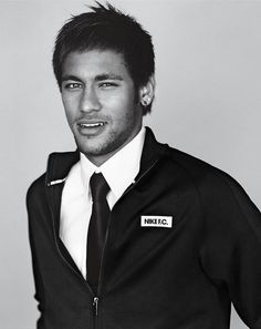Neymar in a Nike track jacket, Tom Ford shirt and Prada tie. Photographed by Alasdair McLellan for WSJ Magazine, June Neymar Jr, Brazilian Soccer Players, Paris Saint Germain Fc, Wsj Magazine, Calvin Klein Obsession, Football Icon, Pose, Nike Track Jacket, Football Fashion