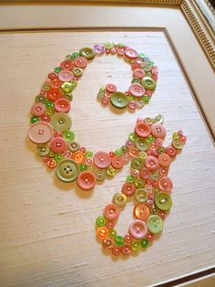 Personalized Baby Nursery Letter Art in Pink and Green Buttons, Children Wall Art, Nursery Monogram, Ready-to-Frame (frame not included)