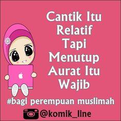 "@komik_line's photo: ""Betul banget ^^ #hijab#muslim #komik_line #memeislami #menutupaurat"""