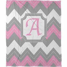 Thumbprintz Chevron Monogram Fleece Throw, Pink