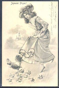 QP192 VIENNE Style EASTER BEAUTIFUL LADY CHICKEN artist signed 1904